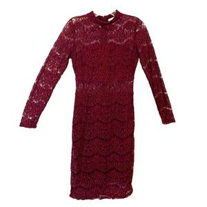 Charlotte Russe Maroon Lace Knee Length Dress